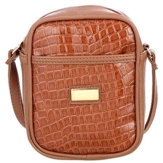 Bolsa Me Visto Transversal Shoulder Bag Verniz Croco Feminina