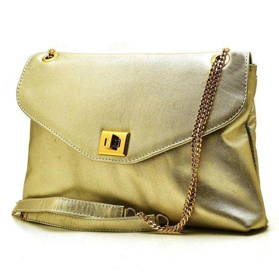 Bolsa Metalizada Hendy Bag Feminina - Dourado