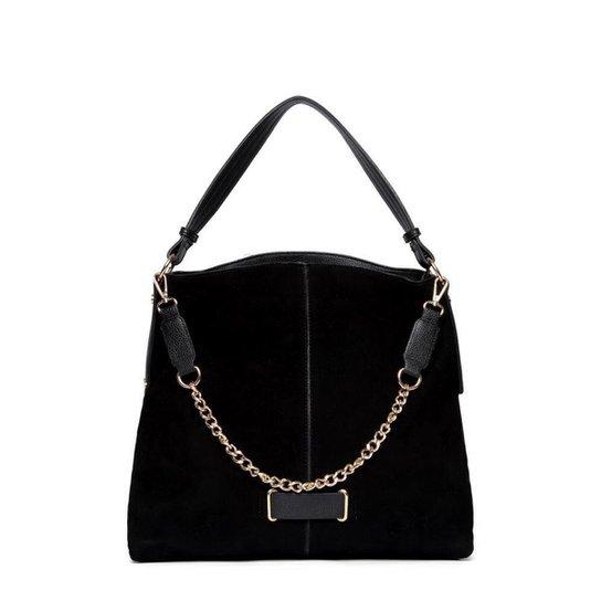 Bolsa Nice Bag Handbag Camurça Alça Corrente Feminina - Preto