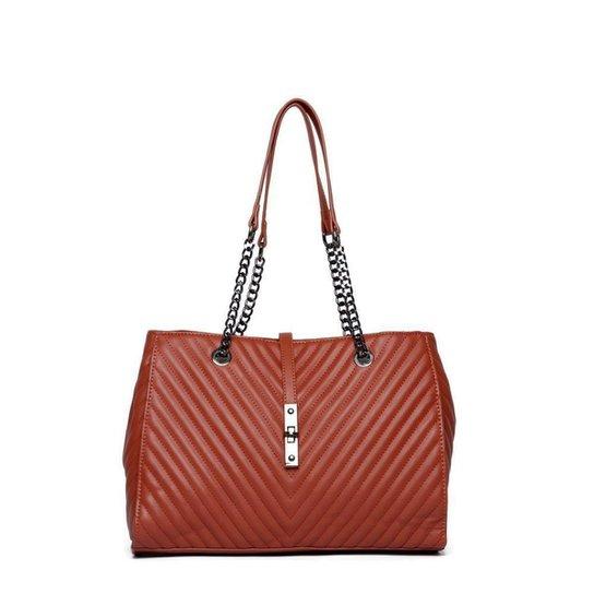 Bolsa Nice Bag Handbag Matelassê Alça Corrente Feminina - Marrom