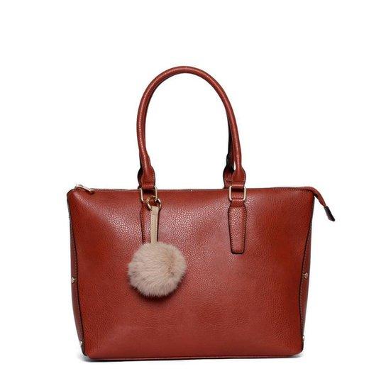 Bolsa Nice Bag Tote Alça Dupla Fixa Feminina - Marrom