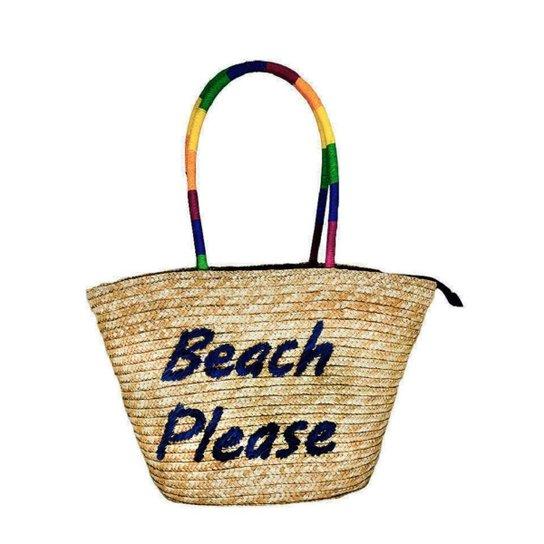 Bolsa Palha Bordada Beach Please Praia - Azul
