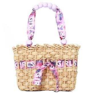 Bolsa palha fita girl alça de bolinhas 11103997