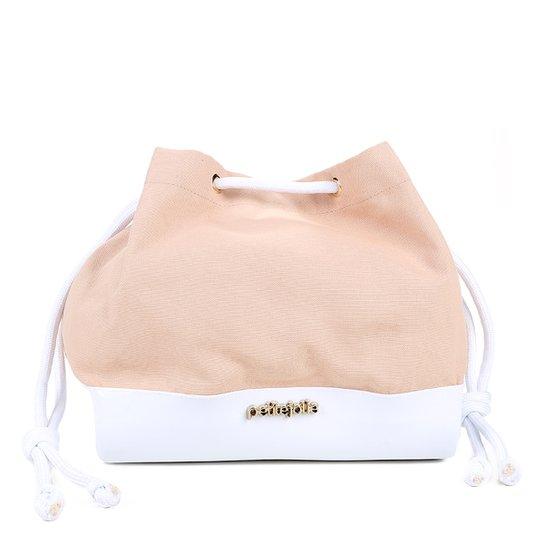 Bolsa Petite Jolie Saco Verniz Lona Belle Coconut Feminina - Bege+Branco