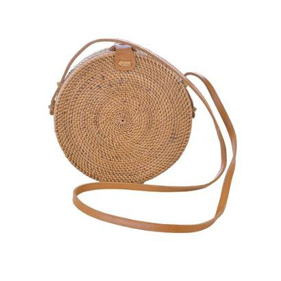 Bolsa Redonda De Rattan Simple Shopping Bali