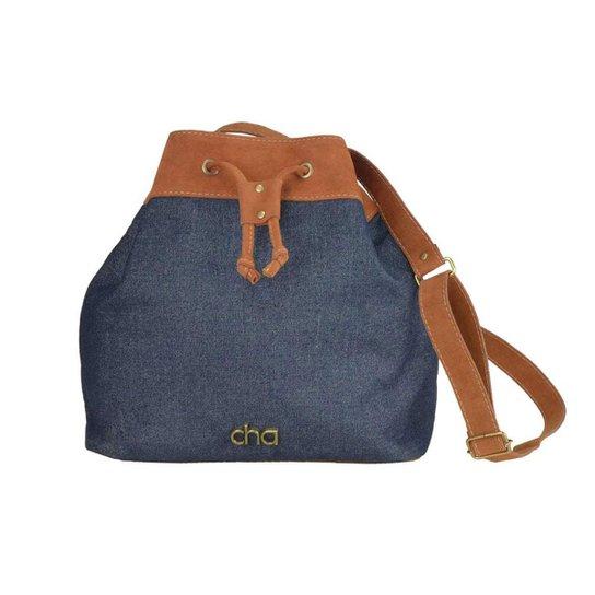 Bolsa Saco Chá de Mulher Jeans e Camurça - Azul