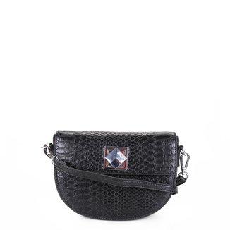 Bolsa Santa Lolla Mini Bag Meia Lua Croco Feminina