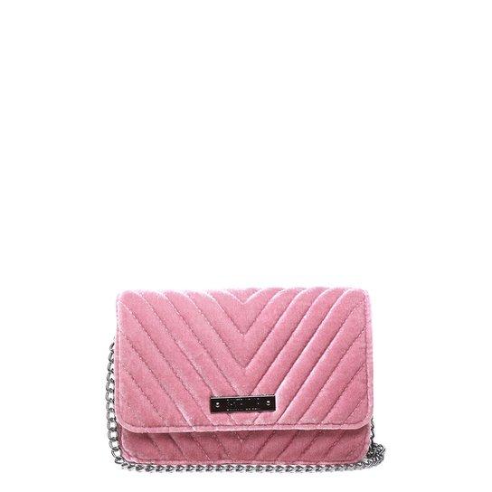 Bolsa Santa Lolla Mini Bag Veludo Transversal Feminina - Rosa
