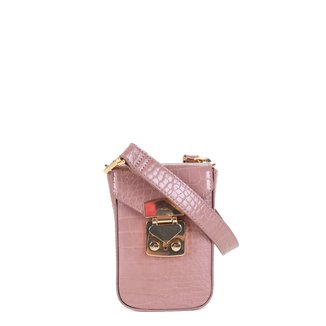 Bolsa Santa Lolla Phone Bag Croco + Alça Corrente Alto Brilho Feminina