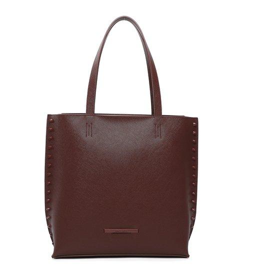 Bolsa Santa Lolla Shopper Grande Tachas Feminina - Marrom Escuro