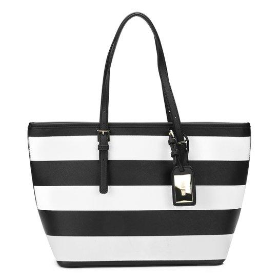 Bolsa Santa Lolla Shopper Listrada - Preto+Branco