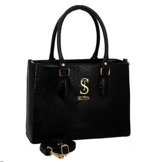Bolsa Selten Handbag Couro Textura Croco Feminina