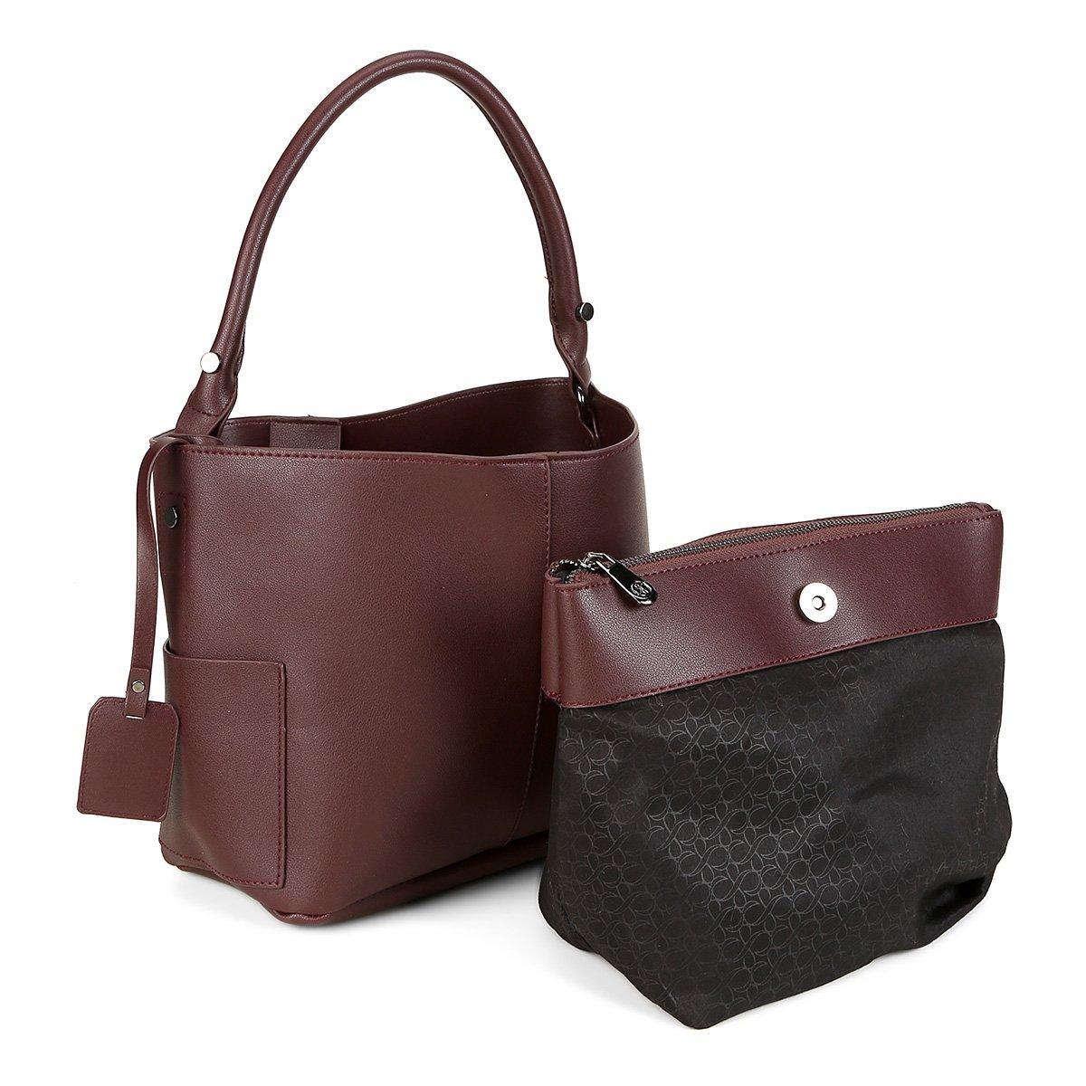 looks básicos e chiques - Bolsa Shoestock Bucket Corrente Feminina - Vinho