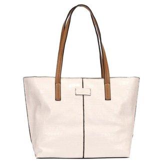 Bolsa Shopping Bag Croco Com Detalhe Recorte Wj Feminina