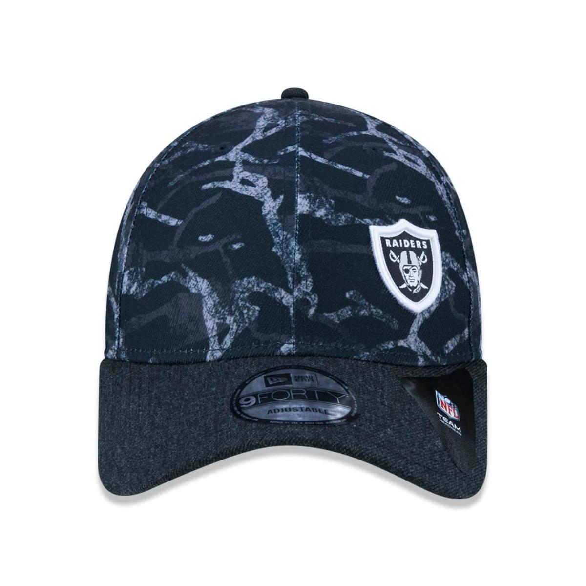 15bf4b936b028 Boné 940 Oakland Raiders NFL Aba Curva Snapback New Era - Preto ...