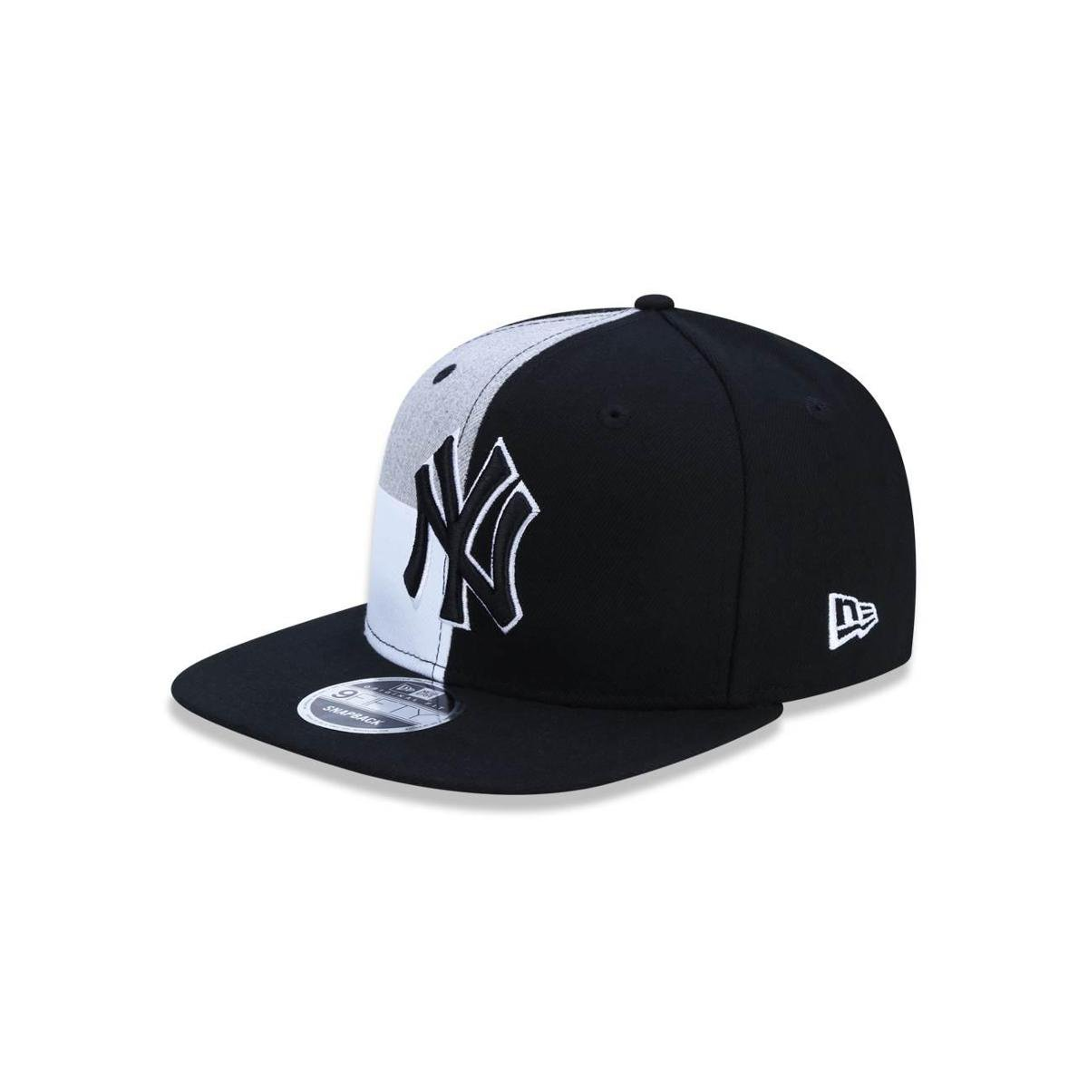 Bone 950 Original Fit New York Yankees MLB Aba Reta Snapback Preto Cinza  New Era ... 48ce56fa90c