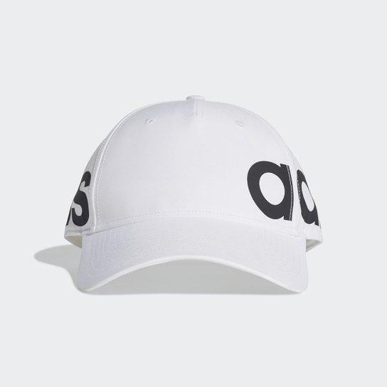 Boné Adidas Aba Curva Linear - Branco+Preto