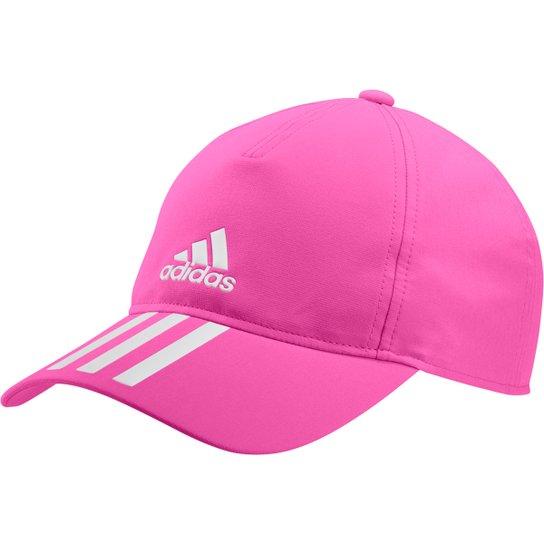 Boné Adidas Aba Curva Strapback 3 Listras - Rosa+Branco