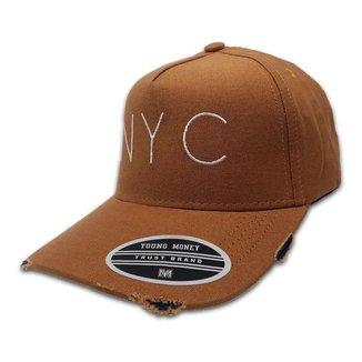 Boné New York Young Money Aba Curva Rasgadinho Ajustável