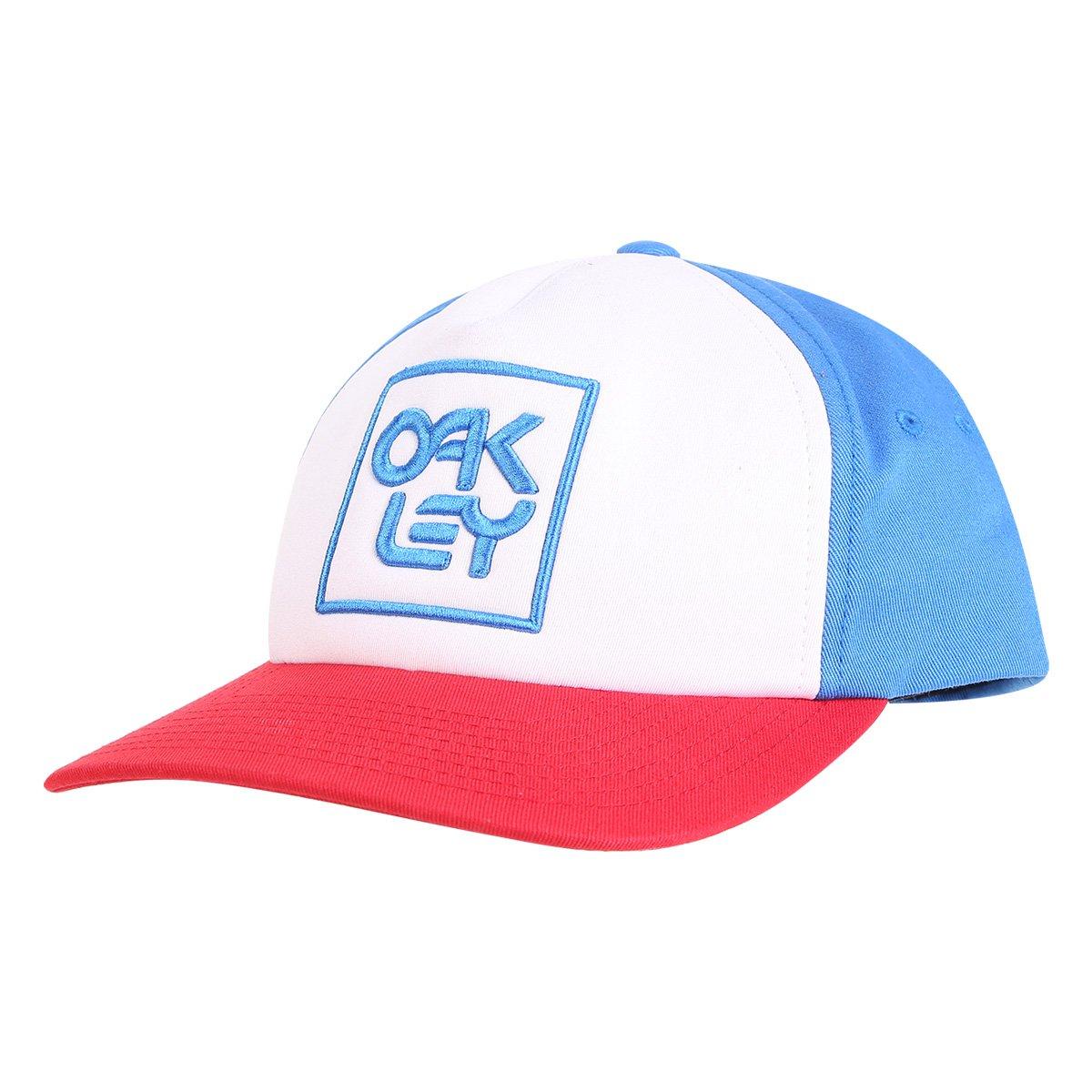 Boné Oakley Aba Reta Mod Snapback Logo Masculino - Azul e Vermelho ... 395fcf948f078