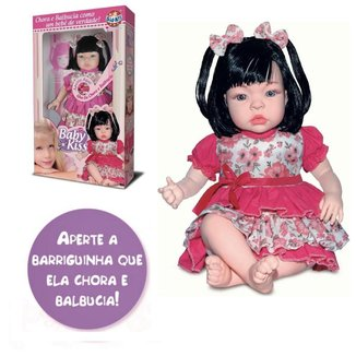 Boneca Baby Kiss Chora e Balbucia Original na Caixa tipo Reborn Morena como Bebê de Verdade