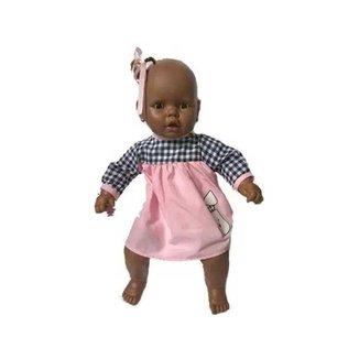 Boneca Meu Bebê Negra Vestido Rosa e Xadrez Estre