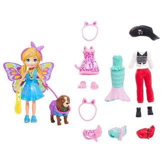 Boneca Polly Pocket Kit Cachorro Fantasias Combinadas com Acessórios Mattel