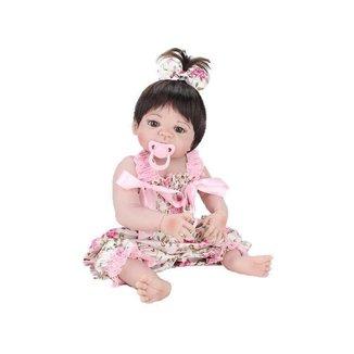 Boneca Reborn Laura Baby Mini Pink Flower com Acessórios