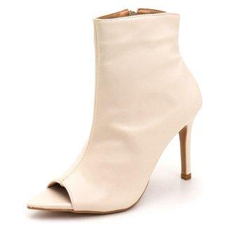Bota Ankle Boot Bico Folha Aberto Salto Fino Confortável Em Napa Off White