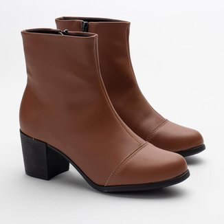 Bota Ankle Boot Feminina Bico Redondo Salto Quadrado Casual