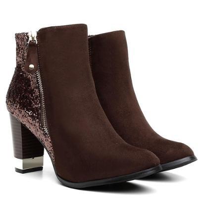 Bota Atron Shoes Cano Curto Florenza Brilho Feminina-Feminino