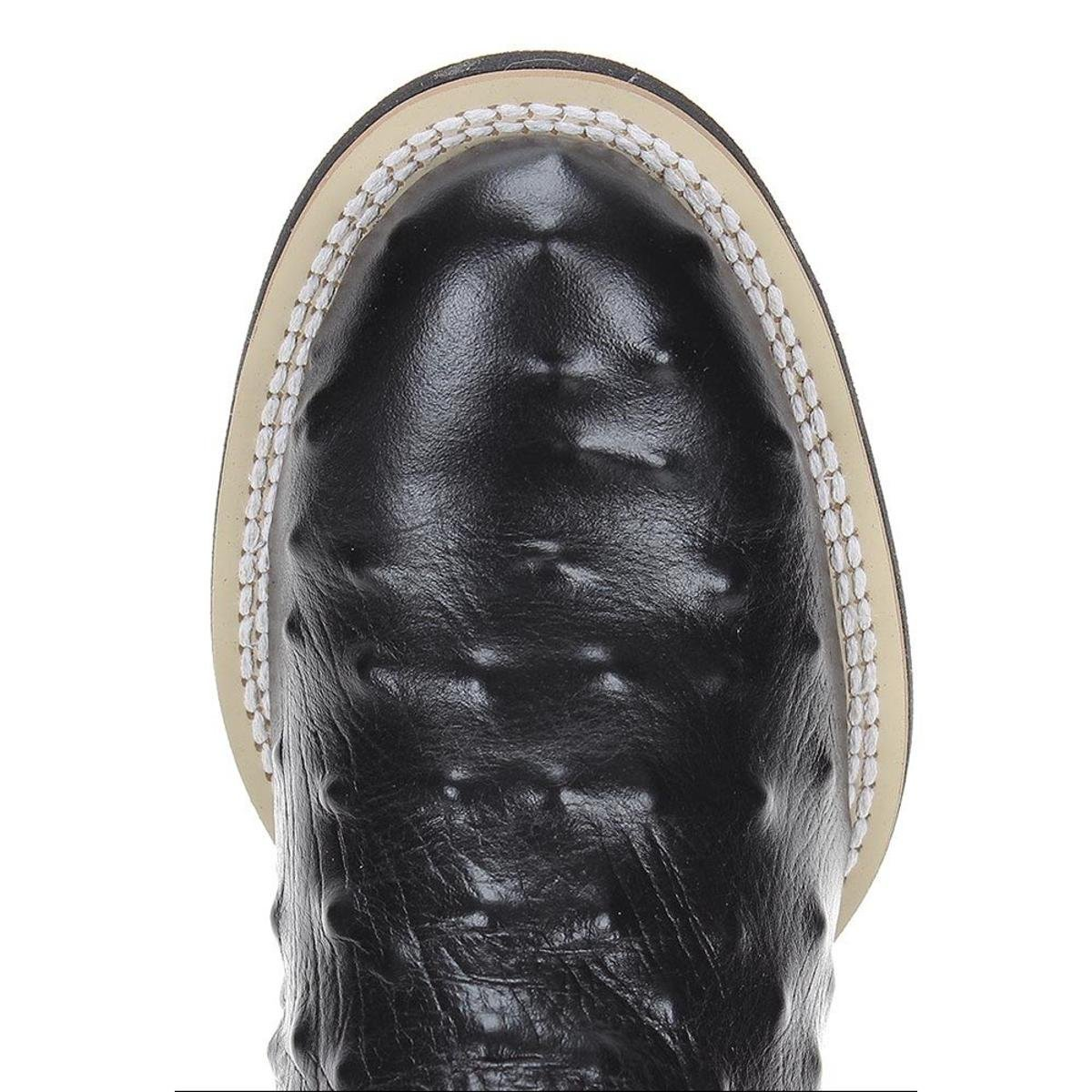 Bota Avestruz West Country Bico Masculina - Preto