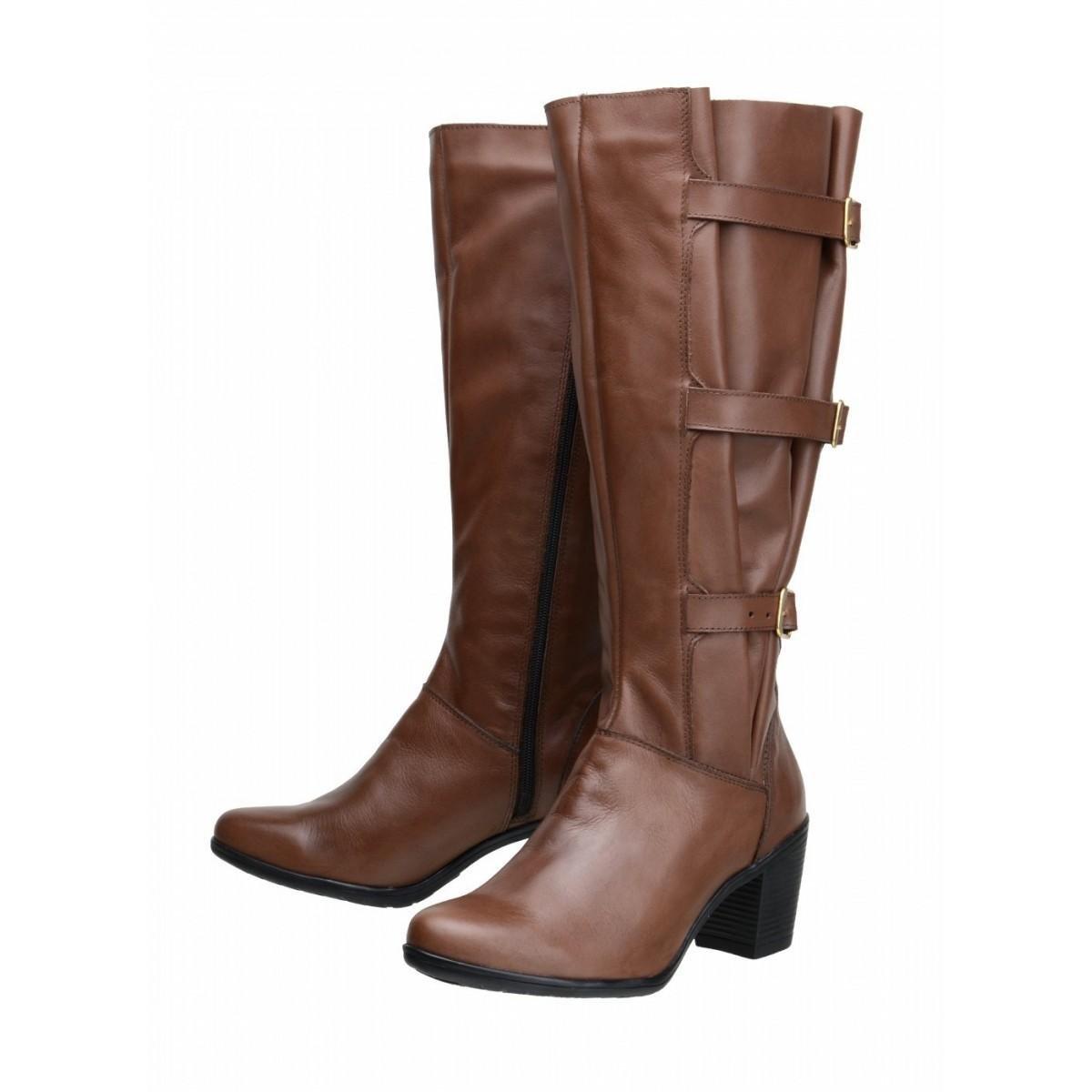 Bota Alto Couro Cano Bota Cano Alto Atron Shoes Legítimo Atron Marrom Shoes Ajustável rwF1rAnx