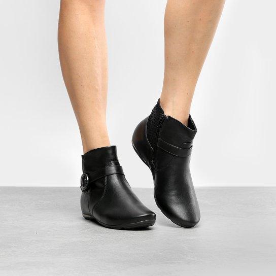 Bota Cano Curto Comfortflex Salto Embutido Fivela Lateral Feminina - Preto