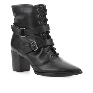 Bota Cano Curto Couro Shoestock Fivelas Feminina