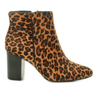 Bota Cano Curto Couro Shoestock Leopard Feminina