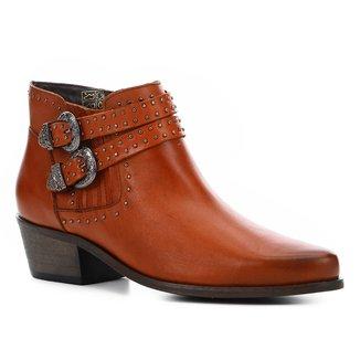 Bota Cano Curto Couro Shoestock Western Feminina