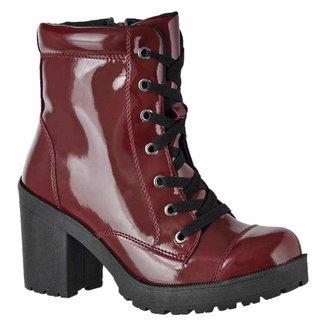 Bota Cano Curto D&R Shoes Verniz Feminina
