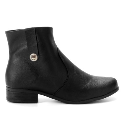 Bota Cano Curto Look Fashion Básica Lisa Feminina