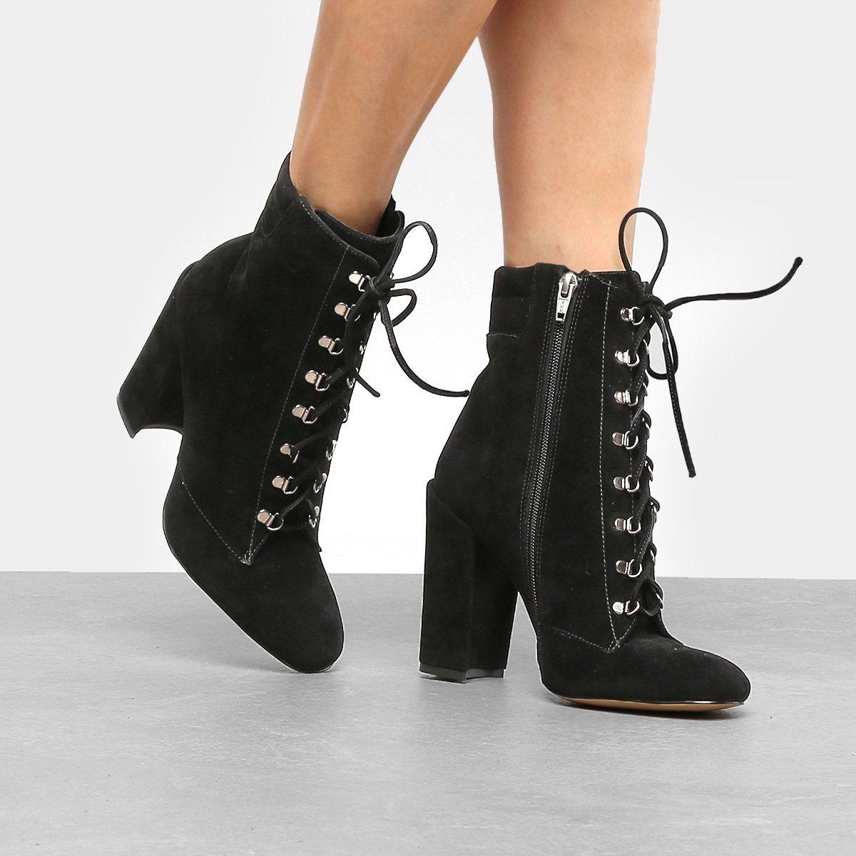 3ae6cc3f73 bota de salto alto luxo bota feminino meia pata cadarço 501. Carregando zoom.  bota feminina cano curto ...