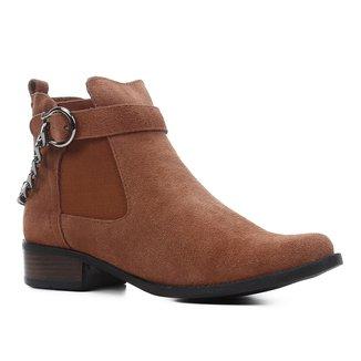 Bota Cano Curto Shoestock Corrente Salto Baixo Feminina