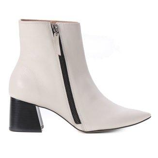 Bota Cano Curto Shoestock Couro Zíper Salto Bloco Feminina