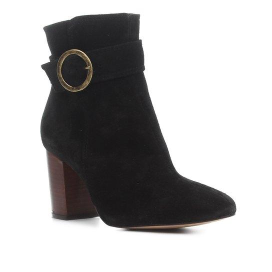 Bota Cano Curto Shoestock Salto Alto Argola Feminina - Preto