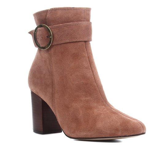 Bota Cano Curto Shoestock Salto Alto Argola Feminina - Marrom