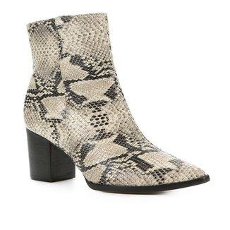 Bota Cano Curto Shoestock Salto Bloco Snake Feminina