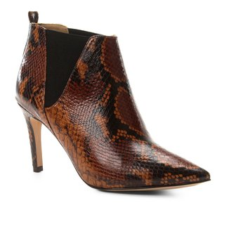 Bota Cano Curto Shoestock Salto Fino Snake Feminina