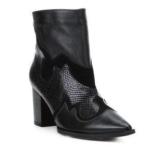 Bota Cano Curto Shoestock Western Couro Feminina