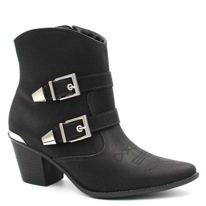 Bota Cano Curto Via Marte Ankle Boot Fivela Feminina-Feminino