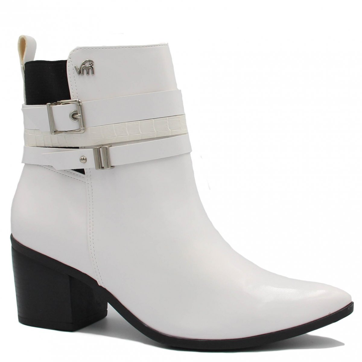 Feminino Ankle Branco Cano Boot Curto Fivela Via Marte Bota BA600w