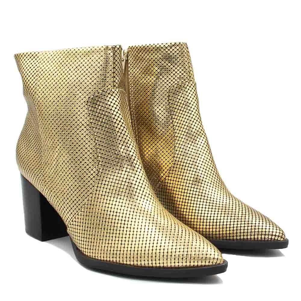 Curto Boot Shoes Cano Feminino Dourado Bota Zariff Ankle Salto F5qw6npan